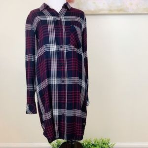 Rails Bianca Indigo Merlot Plaid Shirtdress Dress